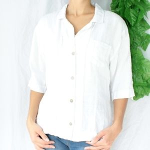 Chicos 100% Linen 3/4 Sleeve White Button Blouse S